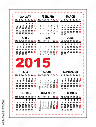 Pocket Calendar 2015 Template Stock Image And Royalty Free Vector