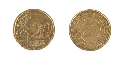 Isolated 20 Euro cent coins