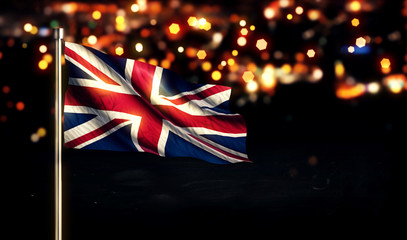 England UK National Flag City Light Night Bokeh Background 3D