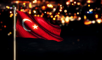 Turkey National Flag City Light Night Bokeh Background 3D