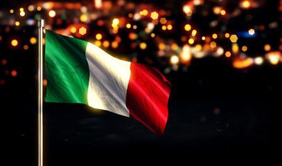 Italy National Flag City Light Night Bokeh Background 3D