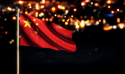 China National Flag City Light Night Bokeh Background 3D