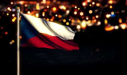 Czech Republic Flag City Light Night Bokeh Background 3D