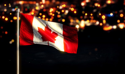 Canada National Flag City Light Night Bokeh Background 3D