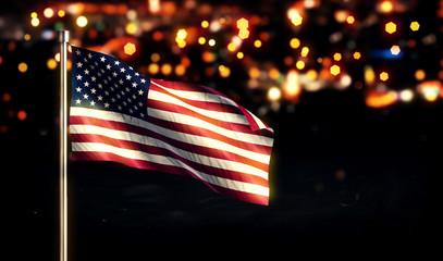 USA America National Flag City Light Night Bokeh Background 3D