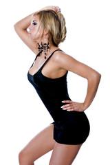 Beautiful blonde girl wearing seductive black dress