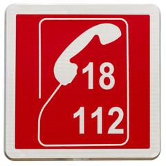 panneau 18, 112, sapeurs pompiers