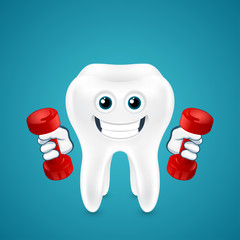 Tooth doing exercises with dumbbells