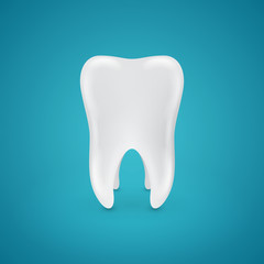Clean healthy teeth on blue background