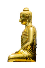 Golden Buddha image isolate on white background
