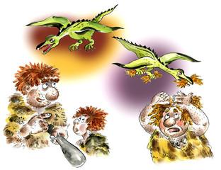 Cavemen and pterodactyls comic cartoon illustration