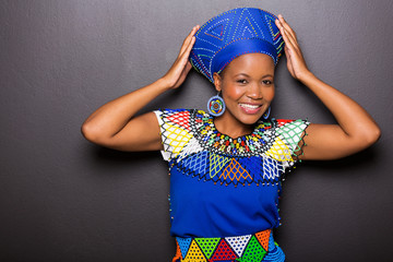 african model in traditional attire posing