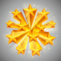Golden stars on grey background.