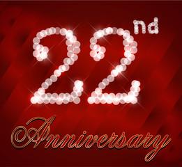 2 year happy birthday card, 22nd anniversary sparkles