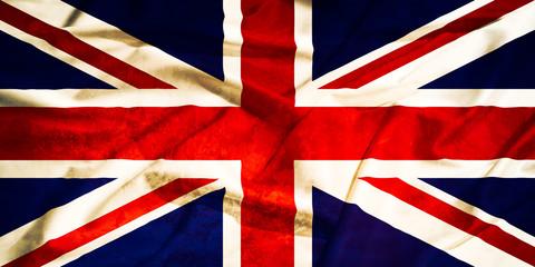 United Kingdom  grunge old flag on a silk drape waving