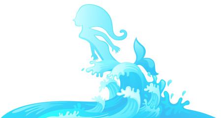 Jumping mermaid out of water vector