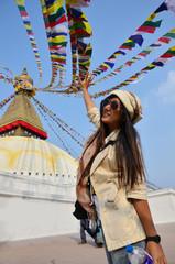Traveler Thai Women in Boudhanath or Bodnath Stupa
