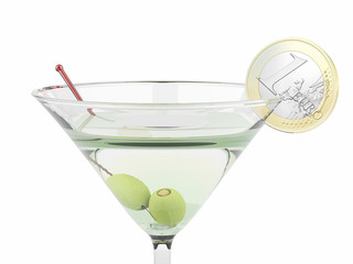 martini glass and sliced one euro  coin