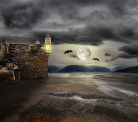 Halloween background with old towers