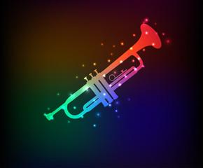 Saxophone symbol,Rainbow vector