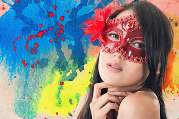 Foto op Plexiglas Beauty beautiful woman in a carnival mask
