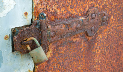 Rusted Locked Solid Metal Door Hinge Padlock