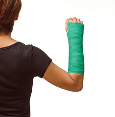 green cast on hand and arm isolated on white background