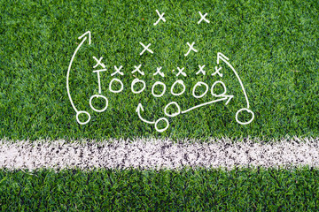 Football planning chart hand writing on soccer field grass
