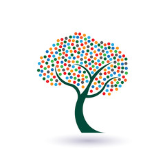 Multicolored circles tree image. Concept of fruitful life