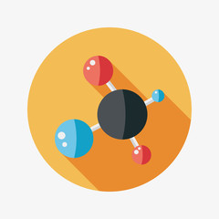 Molecule flat icon with long shadow