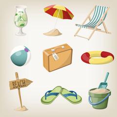 Beach items set. Travel, vacation items. Vector illustrations