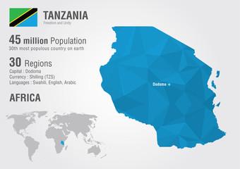 Wall Mural - Tanzania world map with a pixel diamond texture.
