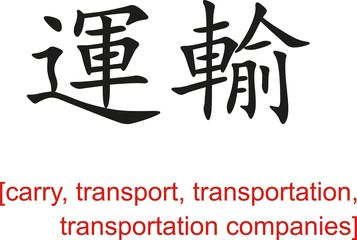 Chinese Sign for carry, transport, transportation