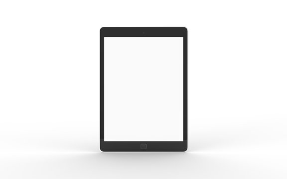 Tablet Computer Blank Screen on White Back