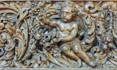 Bruges - carved relief of angel from st. Jocobs church