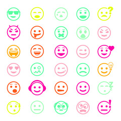 Color set of vector icons with smiley faces