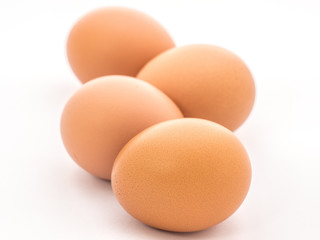 Row of egg isolated on white