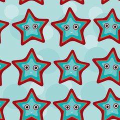 Seamless pattern with funny cute starfish animal on a blue backg