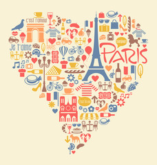 Paris France Icons Landmarks attractions in heart shape