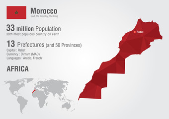 Wall Mural - Morocco world map with a pixel diamond texture.