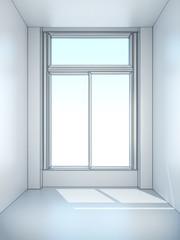 white empty room with window