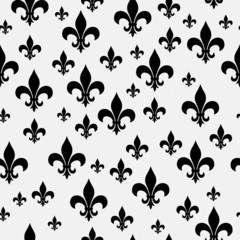 Black and White Fleur-de-lis Pattern Repeat Background