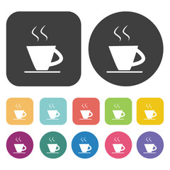 Coffee cup icons set. Cafe and restaurant symbol. Round and rect