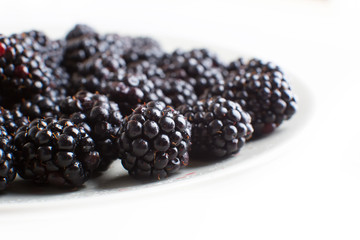 plate with blackberries isolated on white background