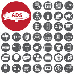 Media and Advertising icons set. Illustration eps10