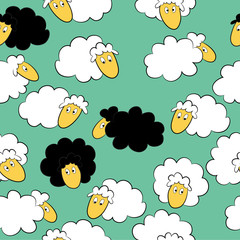 vector illustration of a seamless background with sheep