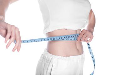 Woman measuring his waistline