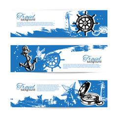 Banner set of travel vintage backgrounds. Sea nautical design