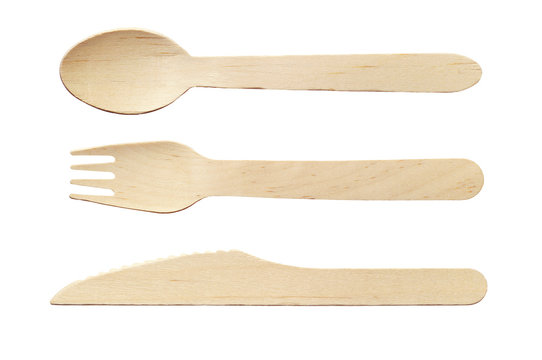 Wooden spoon, knife and fork