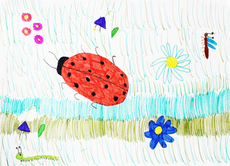 dragonfly, ladybug and caterpillar running on the grass